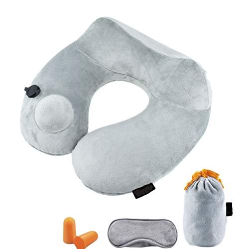 Draagbaar opvouwbaar, automatisch opblaasbaar U-vormig comfort-kussen reis-draagbaar nekkussen, dat opblaasbaar kussen drukt