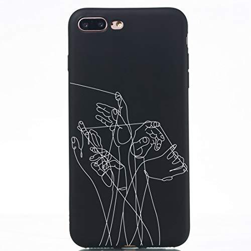 Banaz Funda para iPhone 8 Plus y 7 Plus Cinco Manos Pintadas Patrón Suave TPU Funda de Teléfono