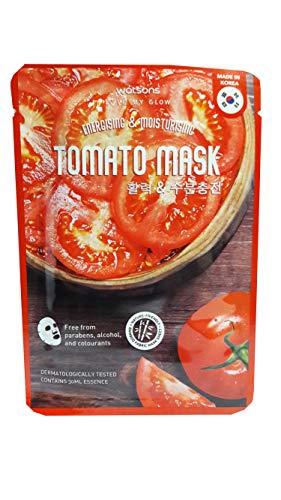 4 Mask sheets of Watsons Energising & Moisturising Tomato Mask. Free from Parabens, Alcohol & Colourants. Bamboo Fabric Mask Sheet. Made in Korea. (30 Ml Essence/sheet)