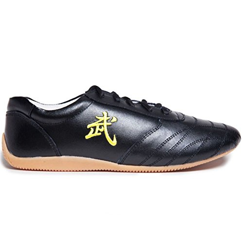 Leather Tai Chi Shoes Martial Arts Kung fu Shoes Chi Kung Shoes Martial Arts Boxing Shoes (Black, US7 // EUR 39 // Foot Length 24.5CM)