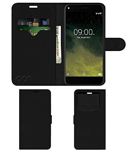 Acm Leather Window Flip Wallet Front & Back Case Compatible with Lava Z70 Mobile Cover Black