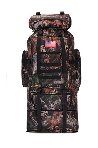 HongXingHai 70L/100L Hiking Camping Backpack MOLLE Rucksack Waterproof Traveling Daypack Durable High-Performance Backpack for Backpacking, Hiking, Camping (Leaf camo, 70L/100L)