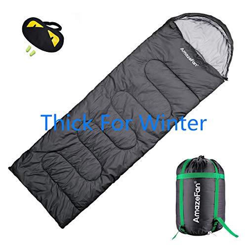 Mummy slaapzak, AmazeFan-300&200 GSM vulling houden warm & ademend, 210T & 190T Polyester Taffo scheurbestendigheid Beste Ideaal voor camping, Wandelen Inclusief Waterdichte Compressie Draagtas