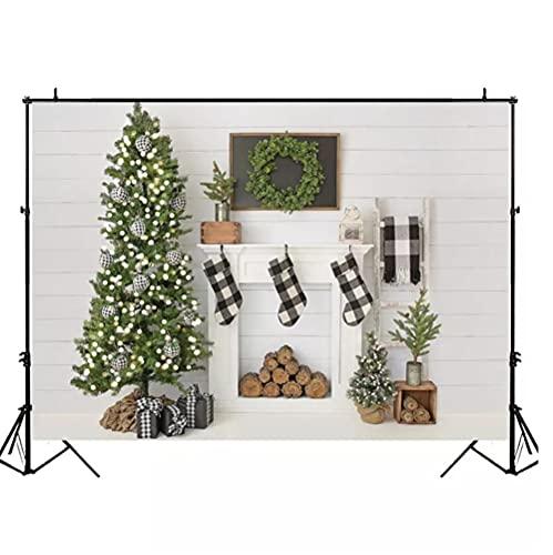 Vinilo 180 x 120 cm Navidad telón de fondo para chimenea blanca decoración Photocall fondo foto estudio familia retrato niño fotografía fondos