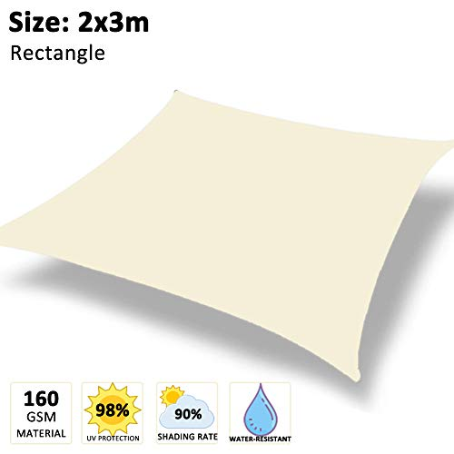 WOWTOY Rectangle Sun Shade Sail Water Resistant 98% UV Block Square Sun Shade Canopy in Tear-Resistant Polyester for Garden, Patio, Terrace, Camping (Cream White, 2x3m)