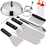 """HaSteeL Griddle Accessories Set, Stainless Steel Griddle Tools Kit of 10 for Flat Top Teppanyaki BBQ Cooking Camping, 12"""" Melting Dome, Metal Spatulas, Griddle Scrapers, Tong, Egg Rings, Bottles"""