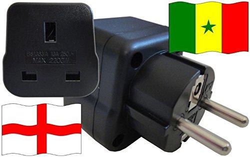 Adaptador de enchufe para Senegal – Adaptador de enchufe de Inglaterra con protección de contacto enchufe de viaje