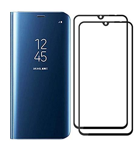 XIFAN Funda para Xiaomi Mi 9, Elegante Espejo Brillante Standing Flip Funda, Modelo Inteligente Fecha Brillante del Caso Duro para Xiaomi Mi 9, Azul + 2 Piezas Protector de Pantalla