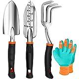 TYHJOY Gardening Tools Set, 4 Pack Heavy Duty Aluminum Transplant Trowel, Cultivator Hand Rake, Shovels Garden Tools and Gloves Set, Garden Gifts for Men Women