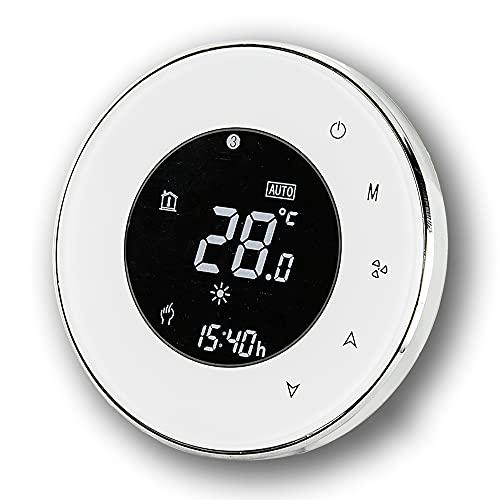 BecaSmart Series 6000 Termostato Inteligente Wi-Fi Redondo para 3A Calentamiento de Agua, Pantalla táctil LCD, de Control de programación, Soporte de Google Home(Calentamiento de Agua, Blanco)