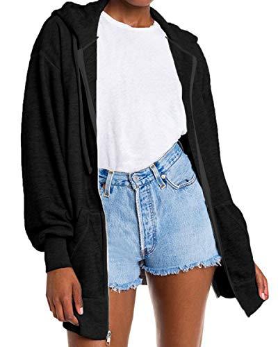 Auxo Veste à Capuche Femme Chic Gilet Zip Up Hoodie Manches Longues Sweat Casual Lâche Pullover de Sport 02-Noir S