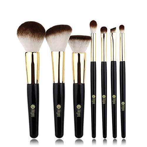 Pinceaux Maquillage 7pcs Professionnel Set/Kit Pinceau de Maquillage des Cheveux en Fibre Blush Shaping Flat Foundation Brosse à Sourcils