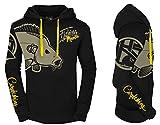 HOTSPOT DESIGN Hoody Fishing Mania Carpfishing, Kapuzensweater Fuer Karpfenangler, Gr. L, schwarz gelb
