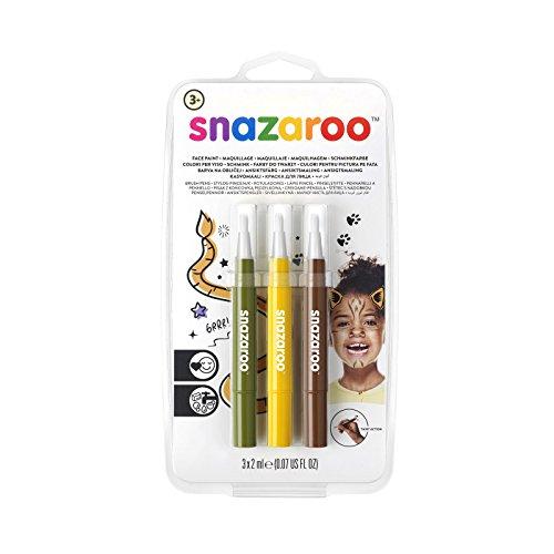 Snazaroo 1180143 Kinderschminke, Schminkstift mit Pinselspitze, 3 Farben Set Dschungel, gelb/braun/grün