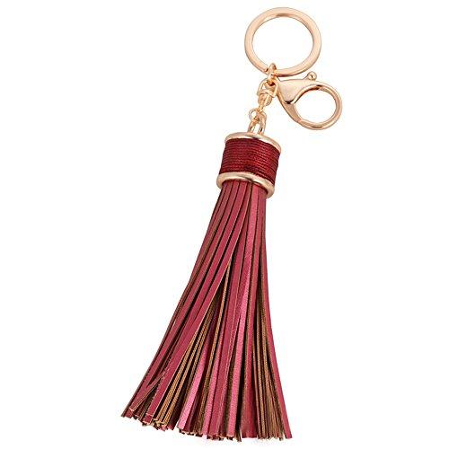 Damen Leder Quasten Schlüsselanhänger Handtasche Ringe Geldbörse Zubehör Schlüsselanhänger (6 Farben für die Auswahl) - Samtlan