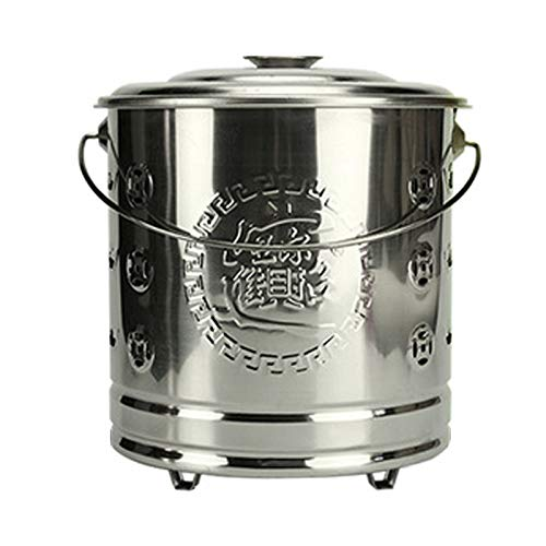 XZZ Incinerator, Stainless Steel Combustion Bucket for Combustion Garbage/Leaves/Waste Paper, Tall: 30cm / 34cm / 40.5cm / 42cm (Gold/Silver/Red)