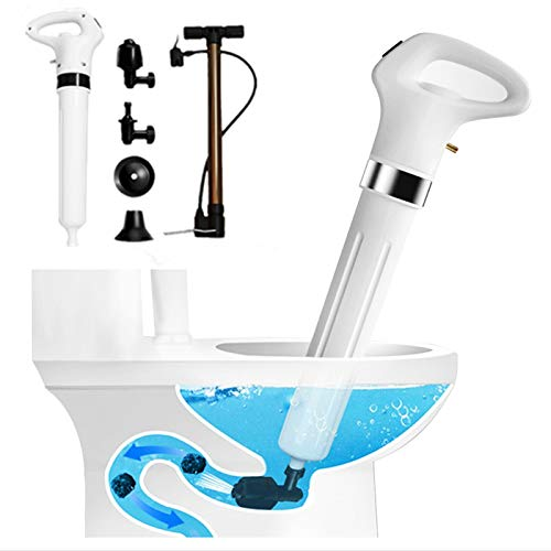 Toilet Plunger High Pressure, Drain Plunger Dredge Clog Remover 4 in 1, Air Drain Blaster with 4 Plungers Sewer Pump for Bath Toilets, Bathroom, Shower, Sink, Bathtub, Clogged Pipe(White)