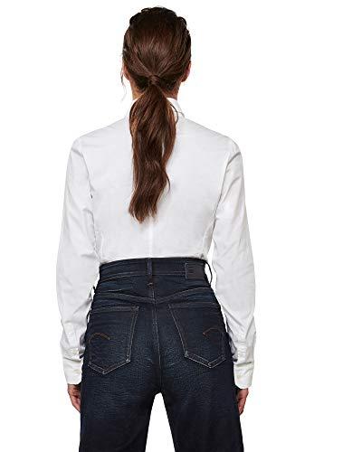 G-STAR RAW Kick Back Slim Camisa, Blanco C271-110, XX-Small para Mujer