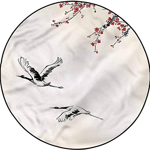 Birds Luxury Round Rugs Comfy Bedroom Floor Rug Winter Season Japanese Cranes Diameter 67 in(170cm)