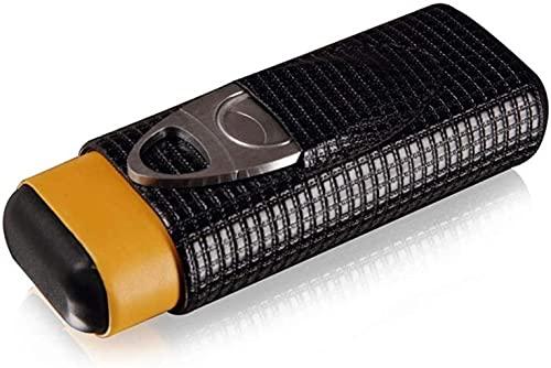 PANGPANGDEDIAN Estuche de cigarro de Cuero de patrón, Caja de cigarros de 3 Dedos de 3 Dedos con Cortador de cigarros Caja Decorativa