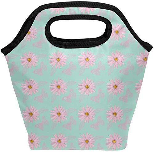 Bolsa de almuerzo Mariposas rosas Patrón de margaritas Verde claro Fiambrera aislada Bolsa térmica portátil Contenedor de alimentos Enfriador Reutilizable