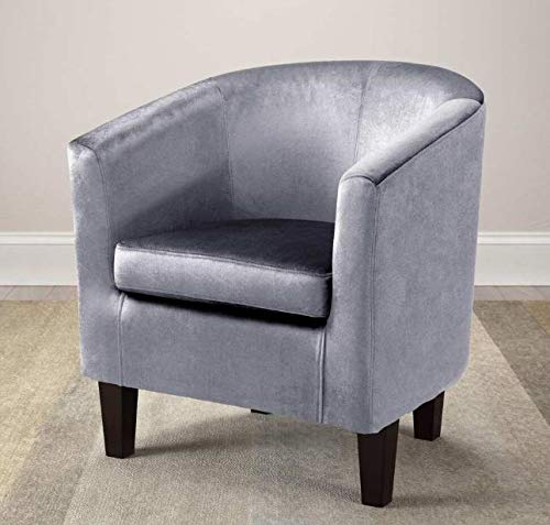Media Room Chairs- Slipper Chair- Silver Contemporary Upholstered Tub Chair- Lovely Color and A Soft, Cozy Seat