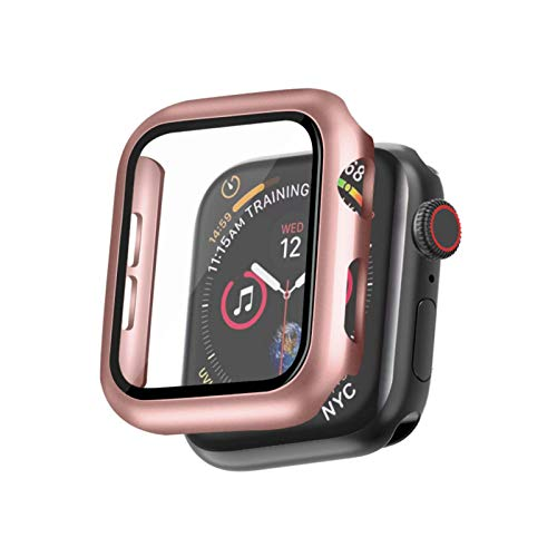 Rosegold Hard Case Compatible with Apple Watch SE Series 6 Series 5 Series 4 40mm with Screen Protector, iwatch Ultra Thin HD Tempered Glass Screen Protector Overall Protective Cover (Rosegold)