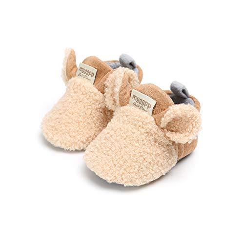Geagodelia 2020 - Zapatos antideslizantes de bebé para invierno, cálidos y suaves, suela de algodón, acogedores, zapatos de bebé de cómic Beige Size: 6-12 mesi