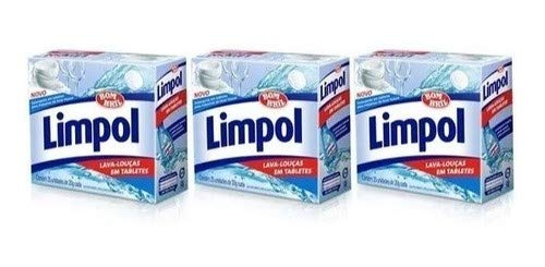 Kit 3 Detergente Máquina Lava Louças 25 Tabletes Limpol Cada