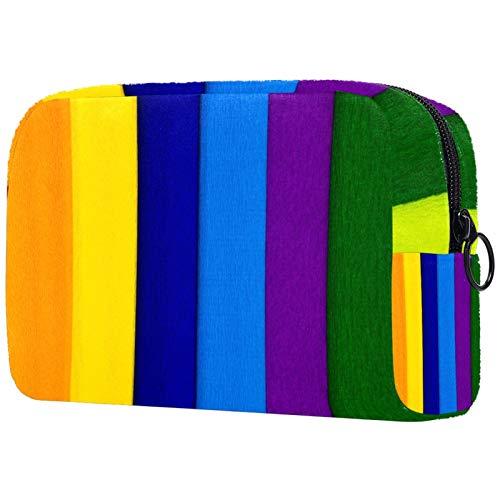 Crepe papel colorido bolso cosmético bolsa de maquillaje viaje portátil para mujeres y niñas embrague con cremallera