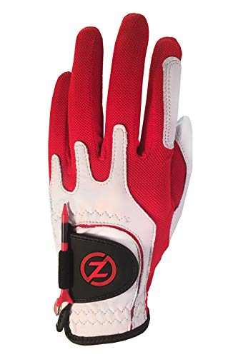 Gants de golf en cuir de qualité supérieure Cabretta Zero Friction pour hommes, main gauche, golf taille unique, rouge