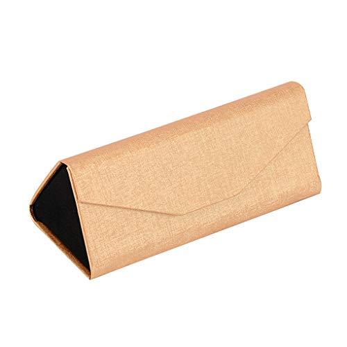 Floridivy Opvouwbare glazen doos zonnebril houder Leather Solid Color Solid Color oogglashouder, Sieraden Glazen sieraden beschermhoes, Gold