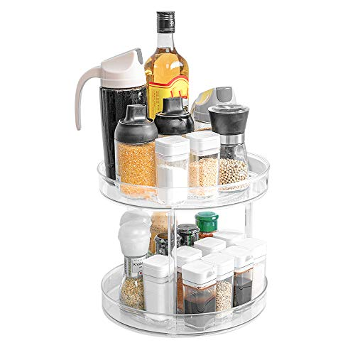 Yunnix 2 Tier Lazy Susan Turntable Cabinet Organizer Rotating Spice Rack Organizer for Cabinet Makeup Organizers for Kitchen Countertop Table Pantry Bathroom 9inch Clear