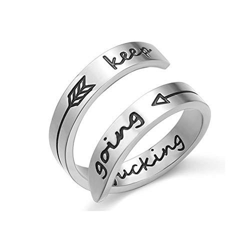 NewChiChi Adjustable Ring, Inspirational Ring Engraving Keep Going for Men...