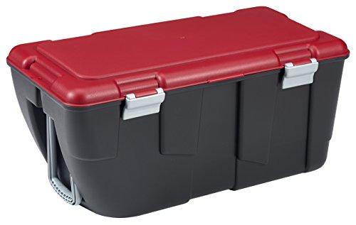 KETER | Malle Discover 80L Avec 2 Roues + Poignée, Noir/rouge, Trunks, 80,5x43x38 cm