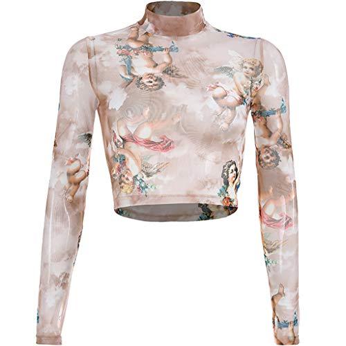 Luckycat Camisetas de Manga de Mujer, Mujeres Sexy Verano Deporte Tops de Manga Larga Casual Impreso Crop Tops de Tirantes Camisas Blusas