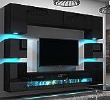 Home Direct Heidi N36 Schwarz Modernes Wohnzimmer Wohnwand Wohnschrank Schrankwand Möbel Mediawand (AN36-18HG-B1 1A ohne Füße, Led Blau)