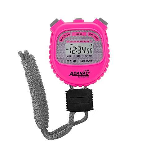 MARATHON ADANAC 3000 - Cronómetro digital, resistente al agua, batería incluida (rosa neón)