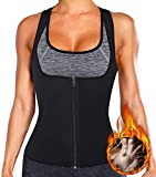 MISS MOLY Chaleco Sauna Mujer Faja Reductora Neopreno de Sudoración Camiseta Corset Abdomen Caliente Body Shaper para Deporte Fiteness Transpirable/Secado Rápido