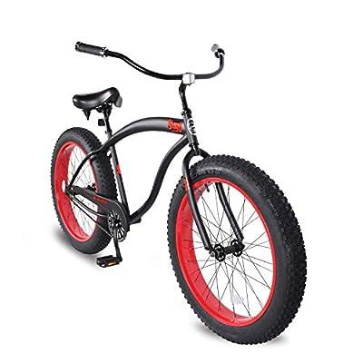 Micargi Slugo B Mens Fat Tire Cruiser Bike, 26-Inch Wheels, 4-Inch Wide Knobby Tires, Hi-Ten Steel Frame, Coaster Brake, City, Country, Beach Bicycle (Matte Black/Red)