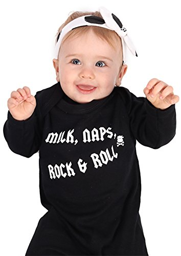 Rock Pijama de bebé para niños o niñas | Nuevo Cool Milk, Naps, Rock & Roll / Mono de – baby shower, ropa de recién nacido o regalo de 1st cumpleaños | Baby Moo's (0-3 meses)
