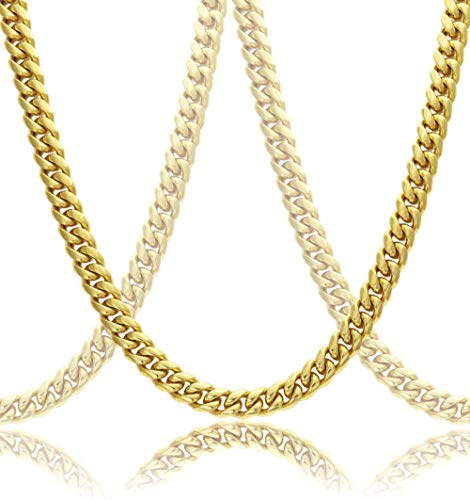 with Gift Box Chain Necklace for Men Women W: 4mm-14mm L:18-30 Black//18K Gold Plated Stainless Steel Cuban Chain//Snake Chain//Round Box Chain