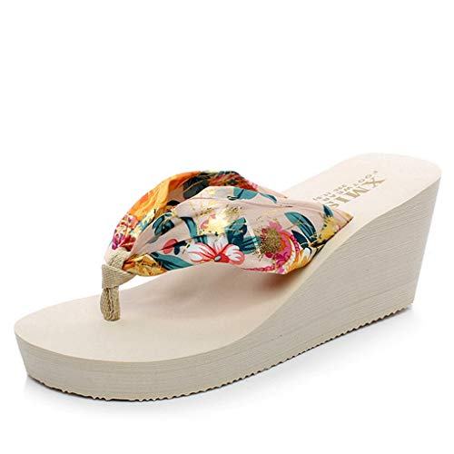 Frauen Casual Wedge Plattform Flip-Flop Satin Böhmen High Heel wasserdicht Sommer Strand Thongs