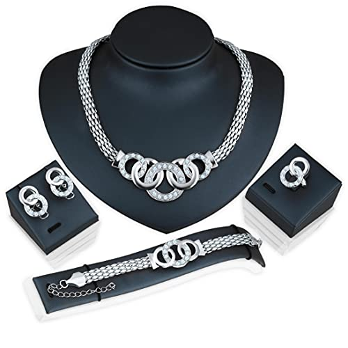 Joyería 4pcs Fantasía Pulsera Pendiente Pendiente del Collar Anillos Fijados Cruz Diseño Y Pendientes De Aro De Fijación Regalos Elegante Joyería para Mujeres Niñas (Plata)