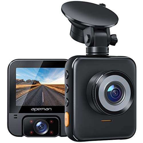 APEMAN Dual Dash Cam, 2K Front and 1080P Inside, Car Camera with IR Night Vision, 2.31'' LCD Display, G-Sensor, Loop Recording, Parking Monitor, Optional GPS for Taxi Driver