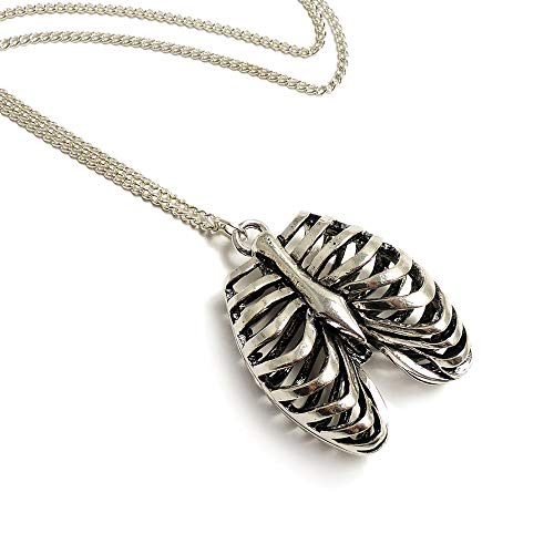 LunarraStar Unisex Silver Plated Anatomical Human Ribcage Necklace Gothic Rib Cage Pendant