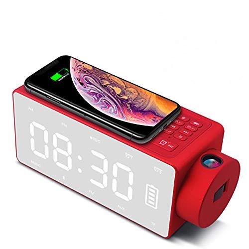 YQ Digital-Projektions-Wecker, Radiowecker Start Wecker Mit Großem LED-Bildschirm, Dual-Alarm Mit USB-Ladeanschluss Und 10 Minuten Snooze-Funktion