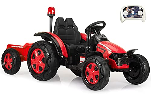 Ride On Tractor with Detachable Trailer 35W Motors EVA Tire Electric 12v Battery-Powered Toy Kids Car with Remote Gift for 3-8 Year Old /Dual Drive/Music/Horn/Light