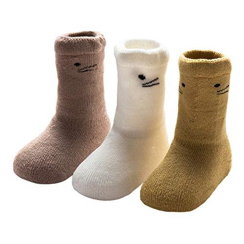 ANIMQUE ANIMQUE Baby Winter Socken Dicke Cartoon Tiere 6-12 Monate Neugeborene Kleinkind Jungen Mädchen Baumwolle Söckchen Warm 3er Pack (MM-B)