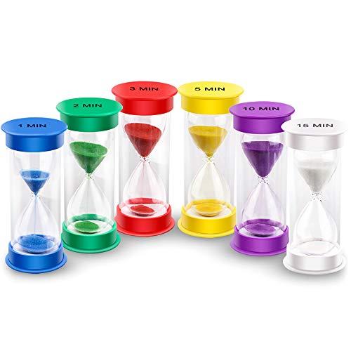 EMDMAK Sand Timer, Acrylic Hourglass Timer Colorful Sandglass Timer 1 min/2 mins/3 mins/5 mins/10...